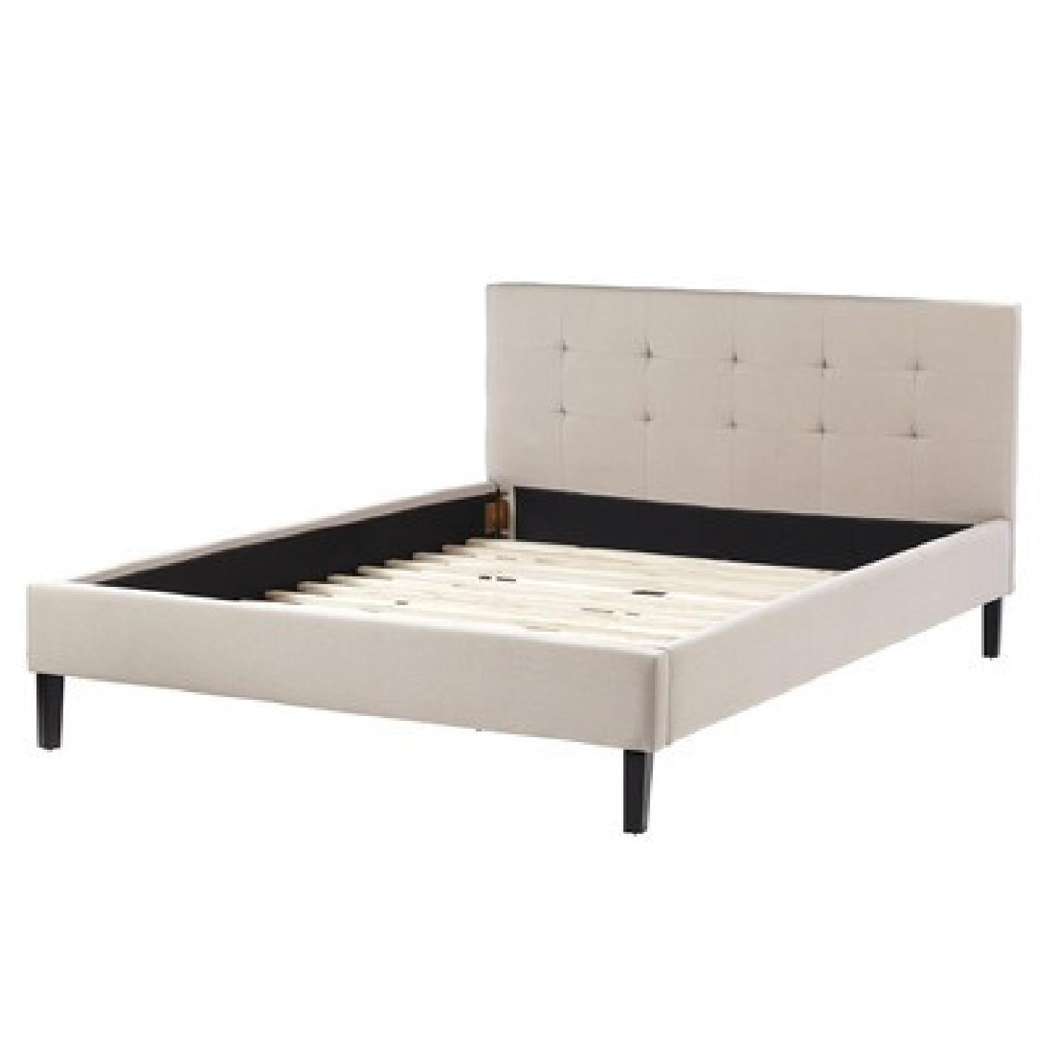 Queen Bed Frame w/ Linen Upholstered Tufted Headboard in Natural Oatmeal - image-2