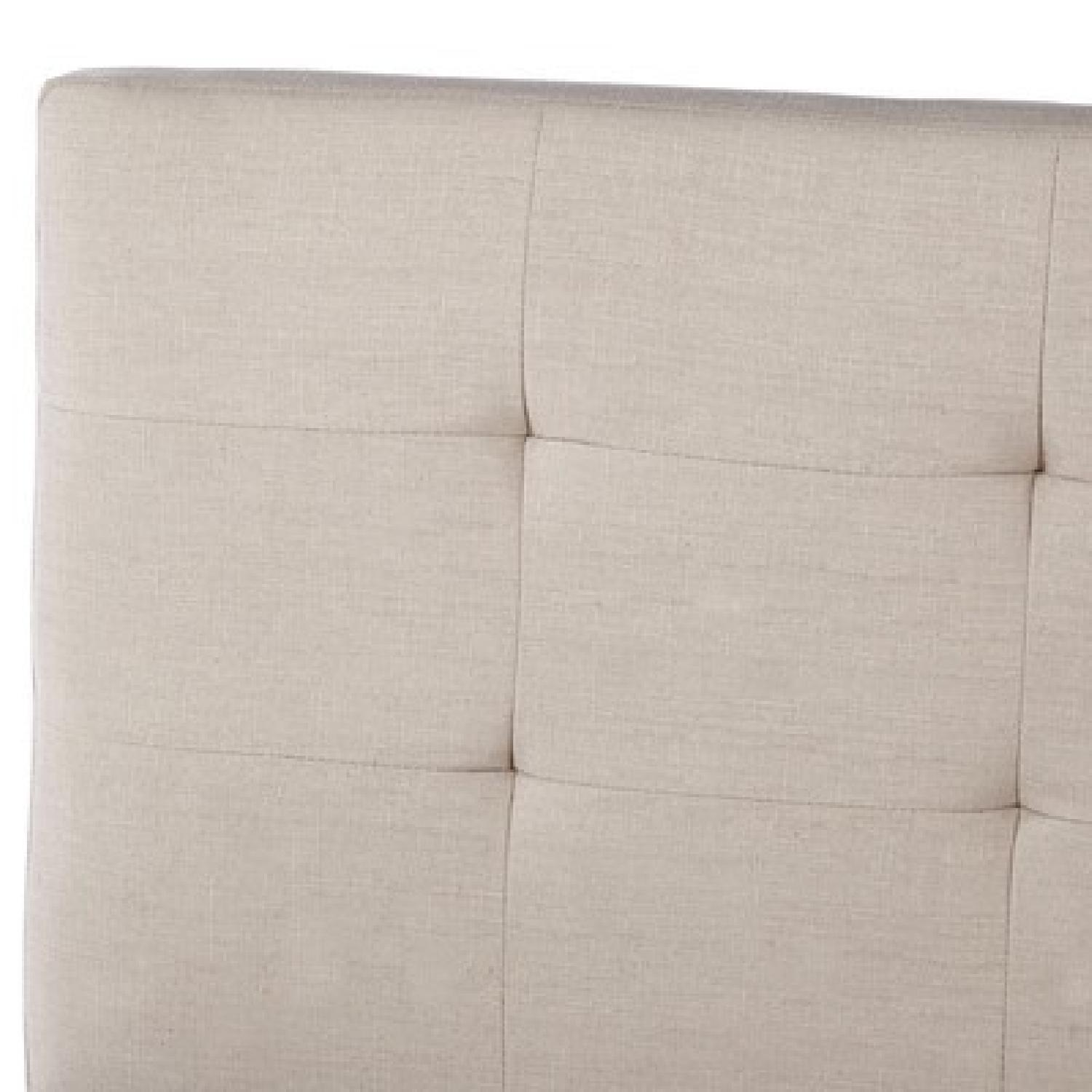 Queen Bed Frame w/ Linen Upholstered Tufted Headboard in Natural Oatmeal - image-3