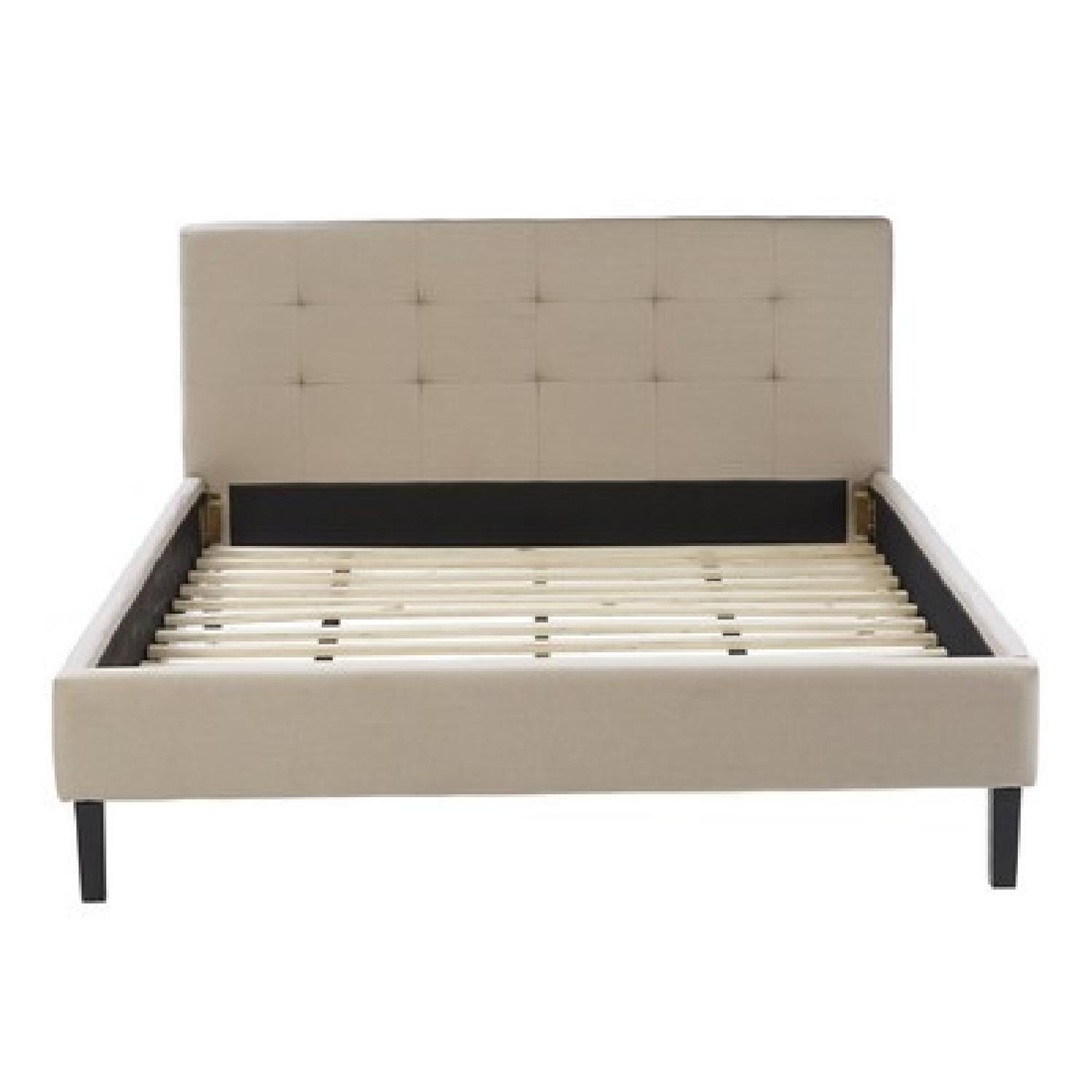 Queen Bed Frame w/ Linen Upholstered Tufted Headboard in Natural Oatmeal - image-0