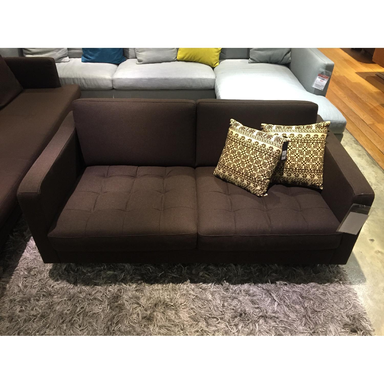 BoConcept Olympia Sofa in Chocolate w/ Felt/Brushed Steel Legs - image-1