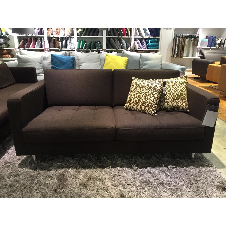 BoConcept Olympia Sofa in Chocolate w/ Felt/Brushed Steel Legs - image-2