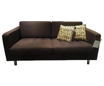 BoConcept Olympia Sofa in Chocolate w/ Felt/Brushed Steel Legs