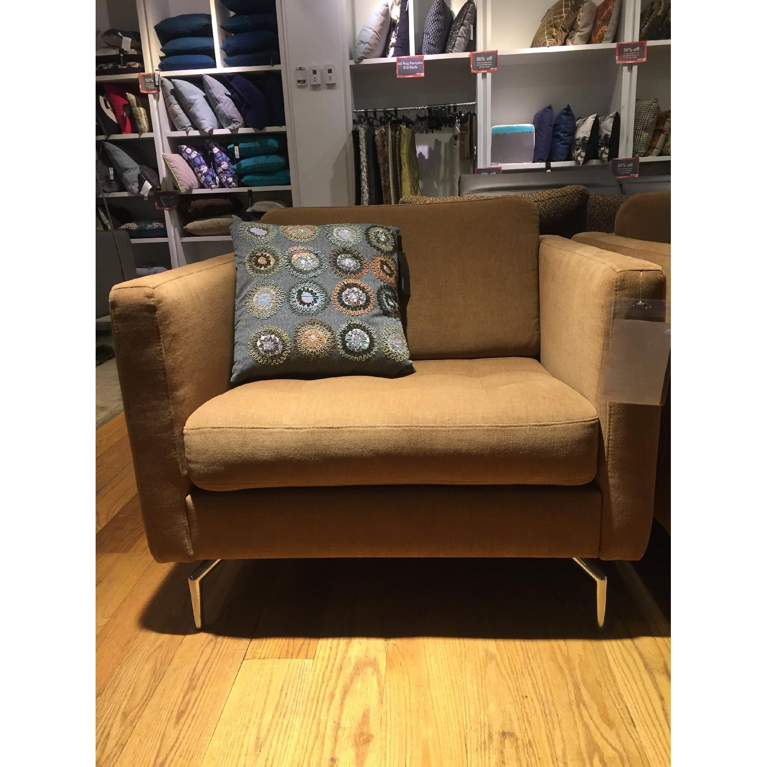 BoConcept Oasaka Armchair w/ Tufted Seat in Caramel Frisco Fabric - image-2