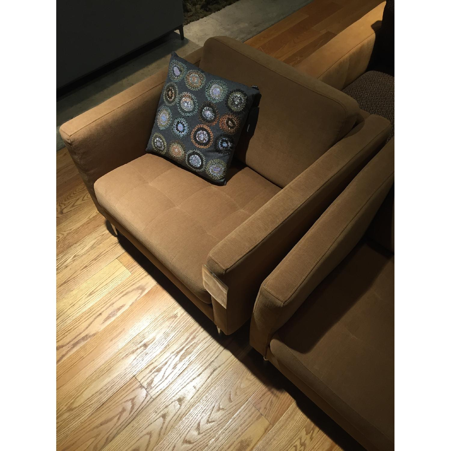 BoConcept Oasaka Armchair w/ Tufted Seat in Caramel Frisco Fabric - image-6