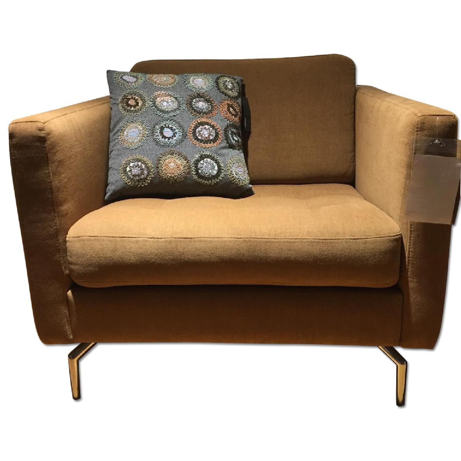 BoConcept Oasaka Armchair w/ Tufted Seat in Caramel Frisco Fabric - image-0