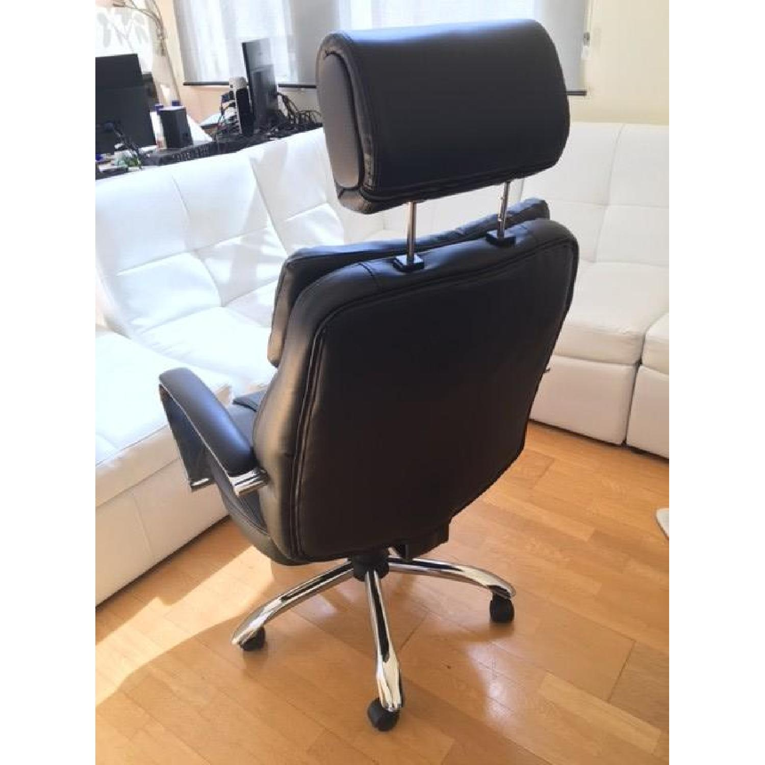 Oversize Leather Chair w/ Adjustable Headrest in Black - image-2