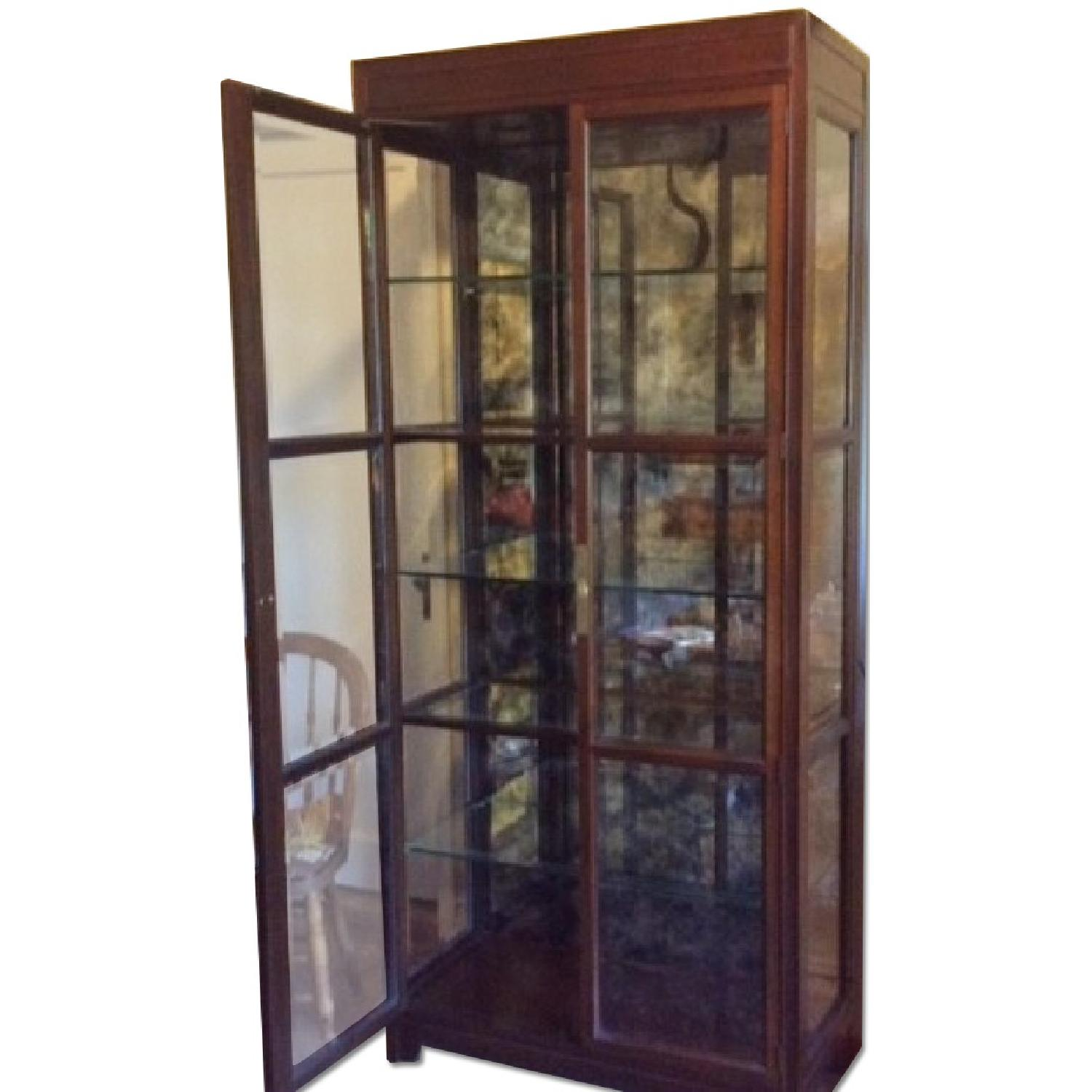 Lighted Glass & Wood Display Cabinet - image-0