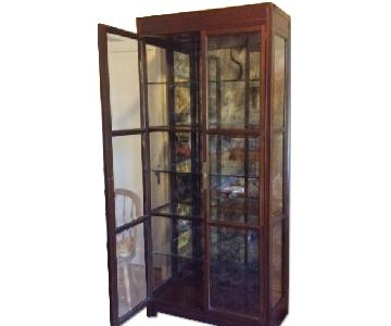 Lighted Glass & Wood Display Cabinet