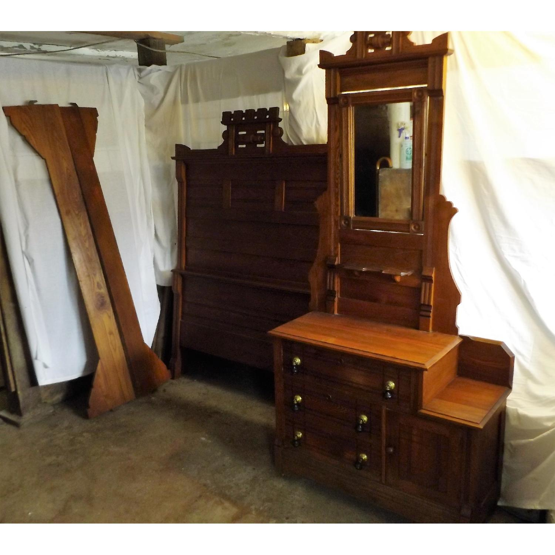 Eastlake Oak Mid 19th Century Full Size Bed Frame + Matching Dresser w/ Mirror - image-1
