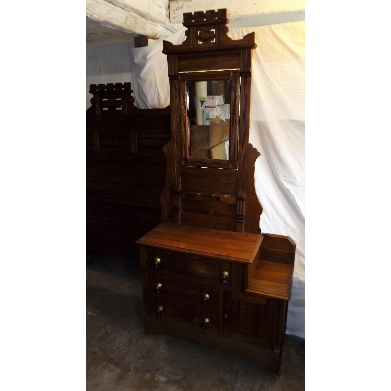 Eastlake Oak Mid 19th Century Full Size Bed Frame + Matching Dresser w/ Mirror - image-2