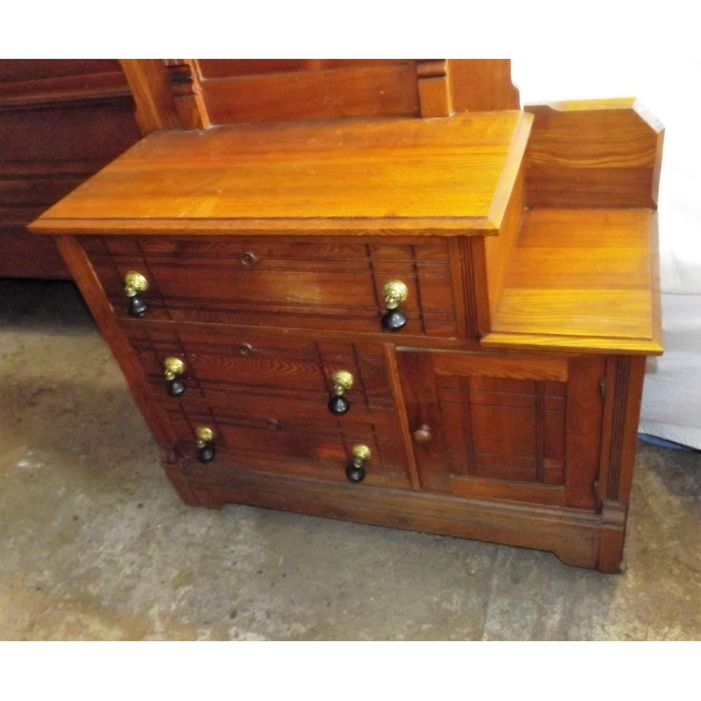Eastlake Oak Mid 19th Century Full Size Bed Frame + Matching Dresser w/ Mirror - image-3