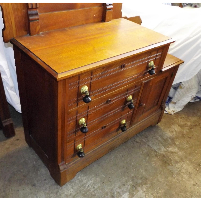 Eastlake Oak Mid 19th Century Full Size Bed Frame + Matching Dresser w/ Mirror - image-4