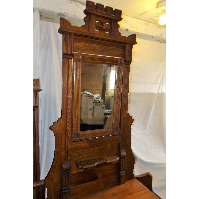 Eastlake Oak Mid 19th Century Full Size Bed Frame + Matching Dresser w/ Mirror - image-5
