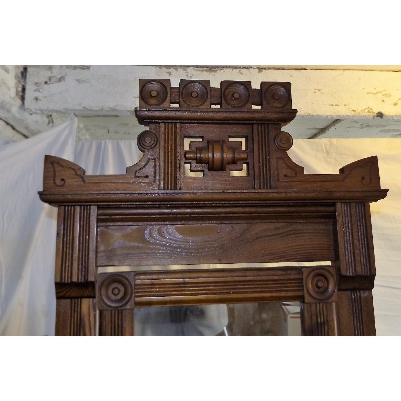 Eastlake Oak Mid 19th Century Full Size Bed Frame + Matching Dresser w/ Mirror - image-6
