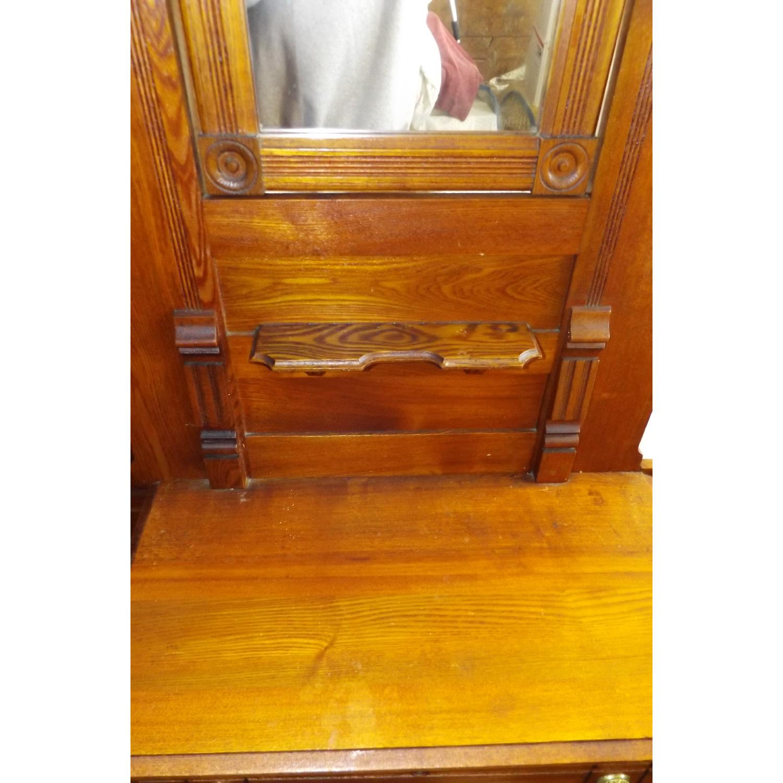 Eastlake Oak Mid 19th Century Full Size Bed Frame + Matching Dresser w/ Mirror - image-7