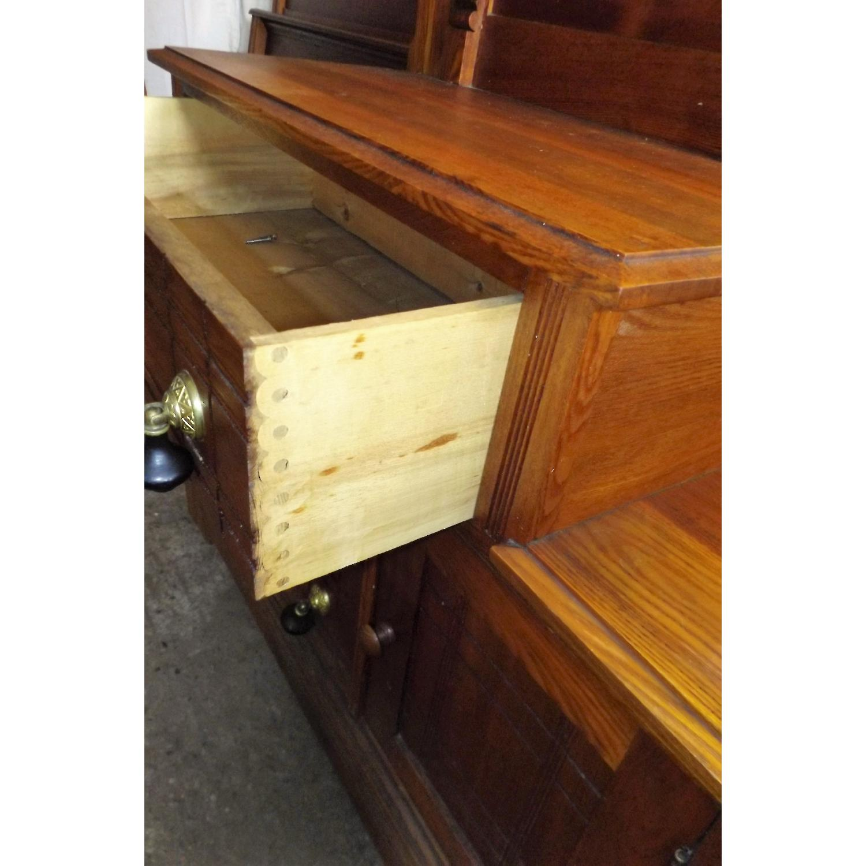 Eastlake Oak Mid 19th Century Full Size Bed Frame + Matching Dresser w/ Mirror - image-8