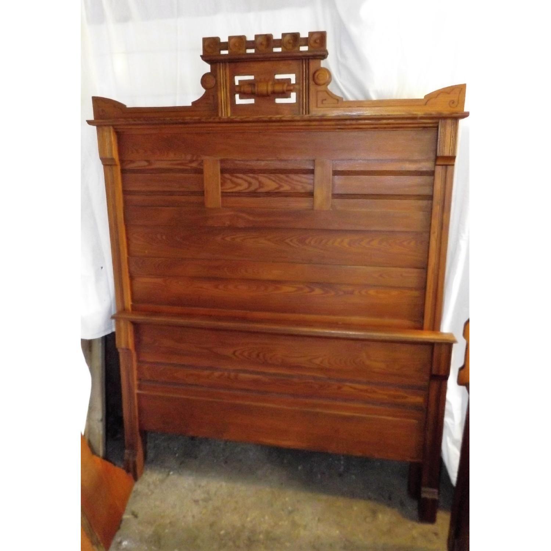 Eastlake Oak Mid 19th Century Full Size Bed Frame + Matching Dresser w/ Mirror - image-9