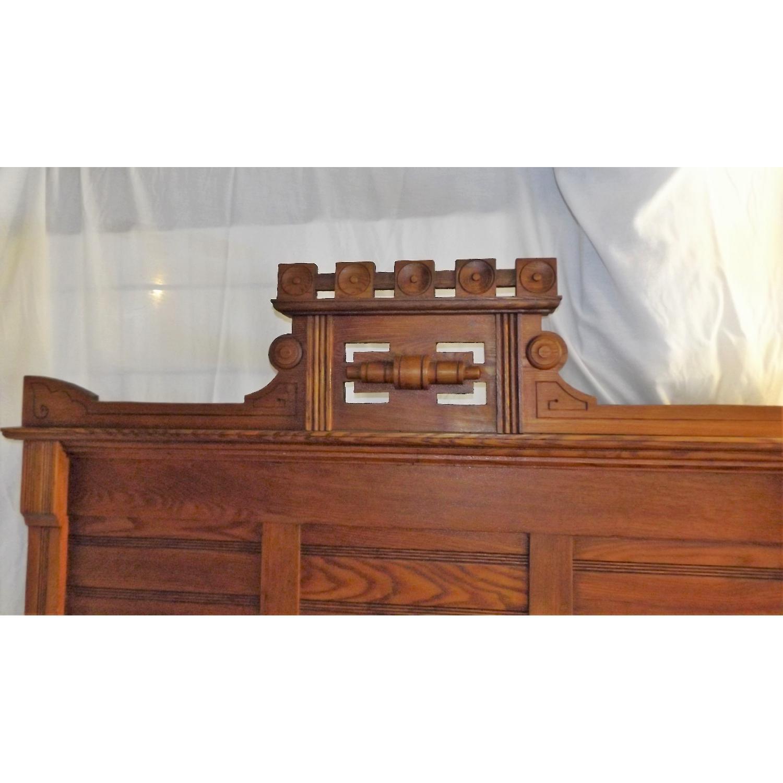 Eastlake Oak Mid 19th Century Full Size Bed Frame + Matching Dresser w/ Mirror - image-10