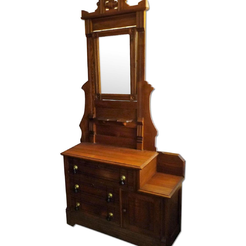 Eastlake Oak Mid 19th Century Full Size Bed Frame + Matching Dresser w/ Mirror - image-0