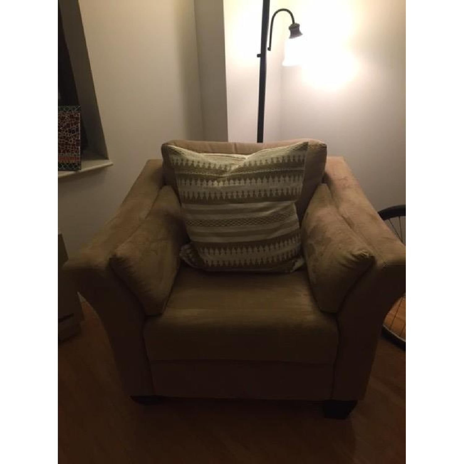 Neutral Suede Armchair - image-1