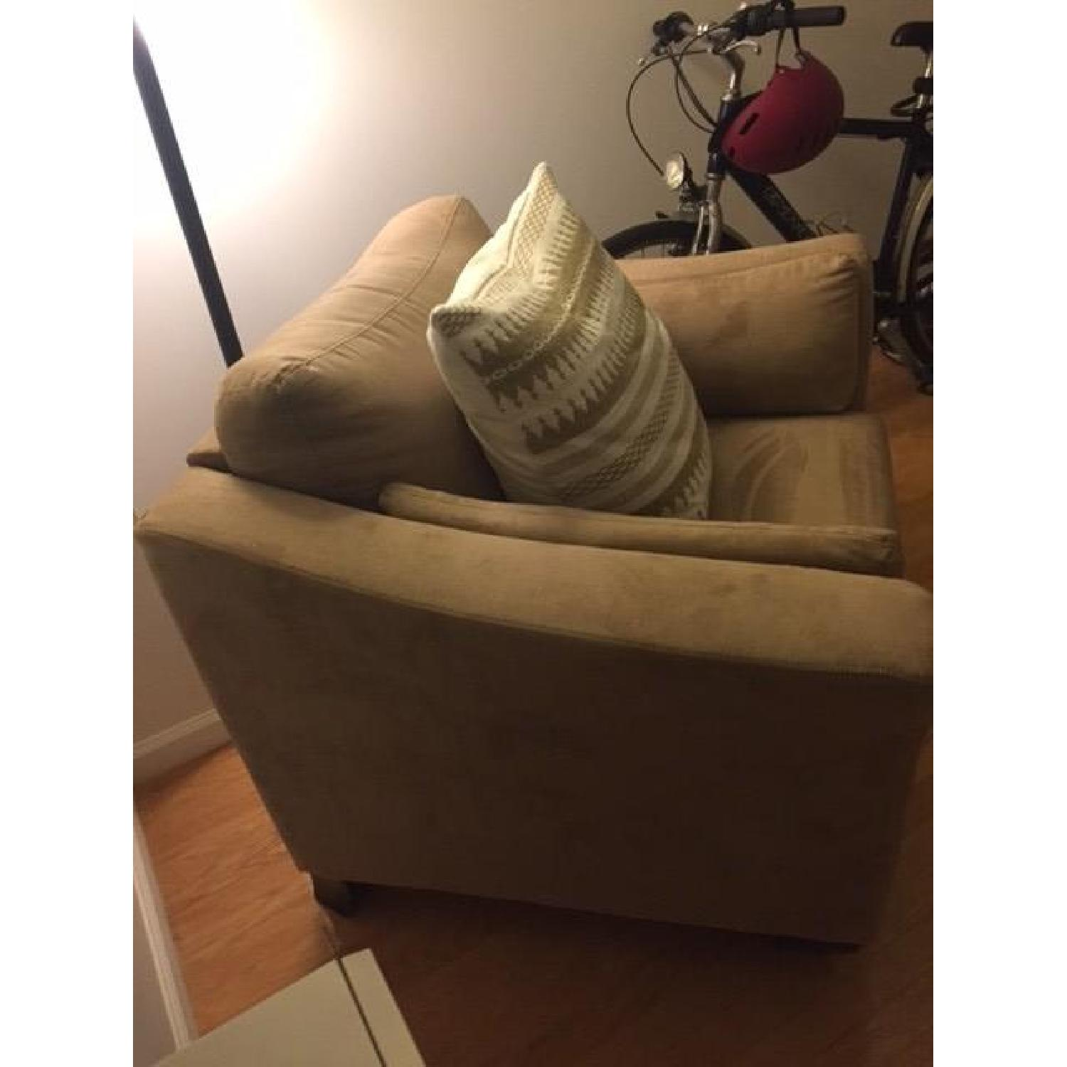 Neutral Suede Armchair - image-2