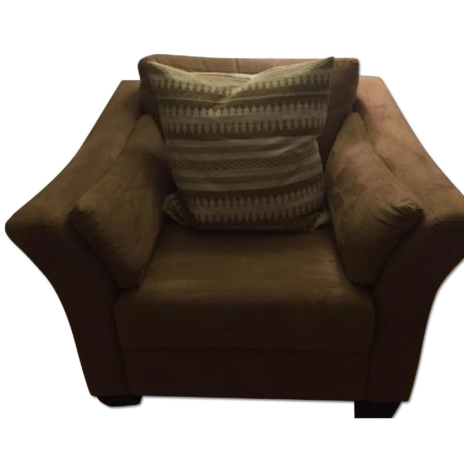 Neutral Suede Armchair - image-0