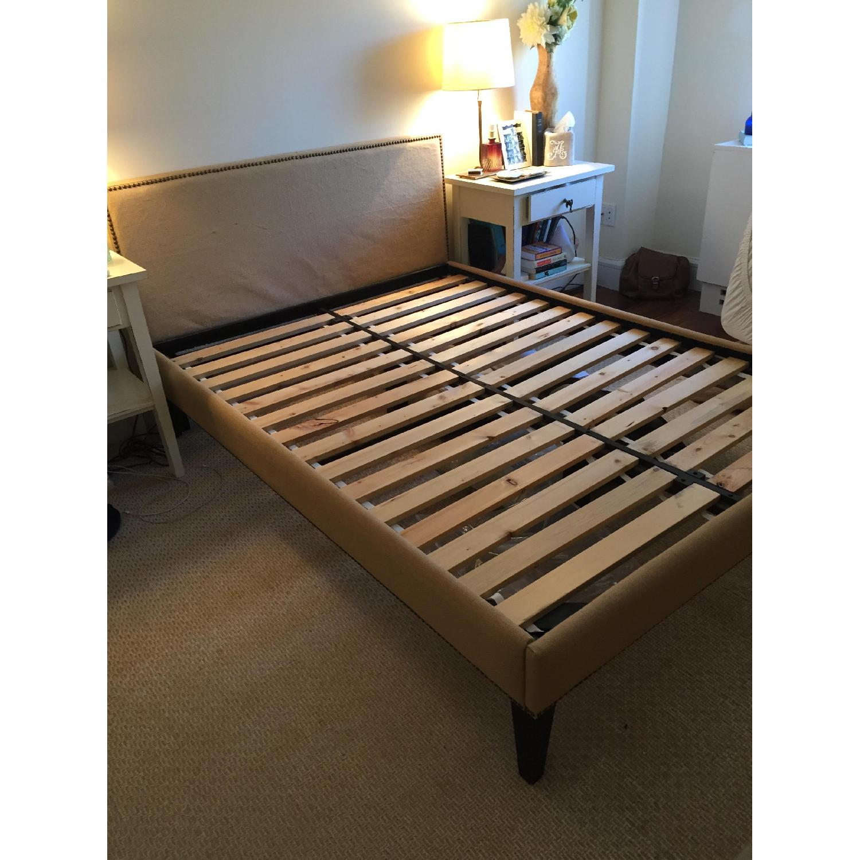West Elm Nailhead Upholstered Full Bed Frame + Storage Bench - image-6