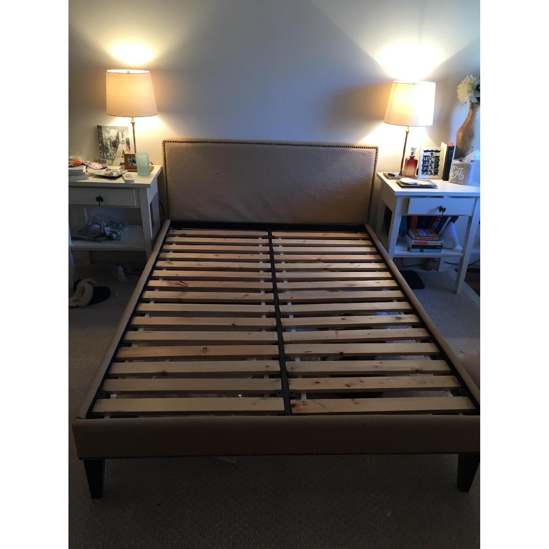 West Elm Nailhead Upholstered Full Bed Frame + Storage Bench - image-7
