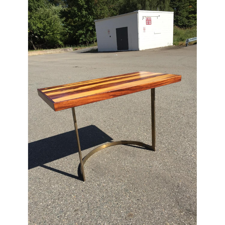 Solid Wood Desk w/ Curved Brass Base - image-1