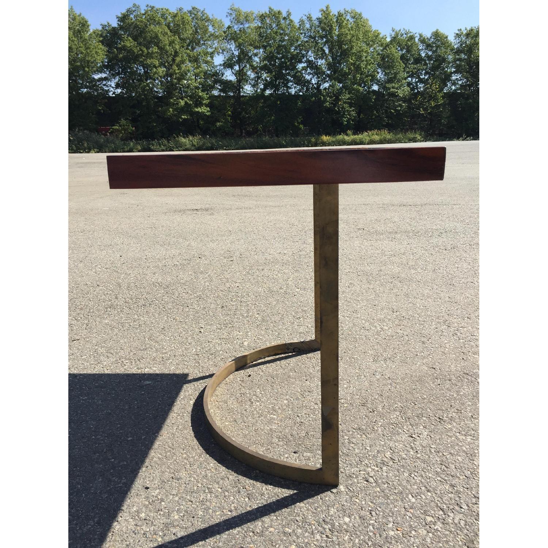 Solid Wood Desk w/ Curved Brass Base - image-2