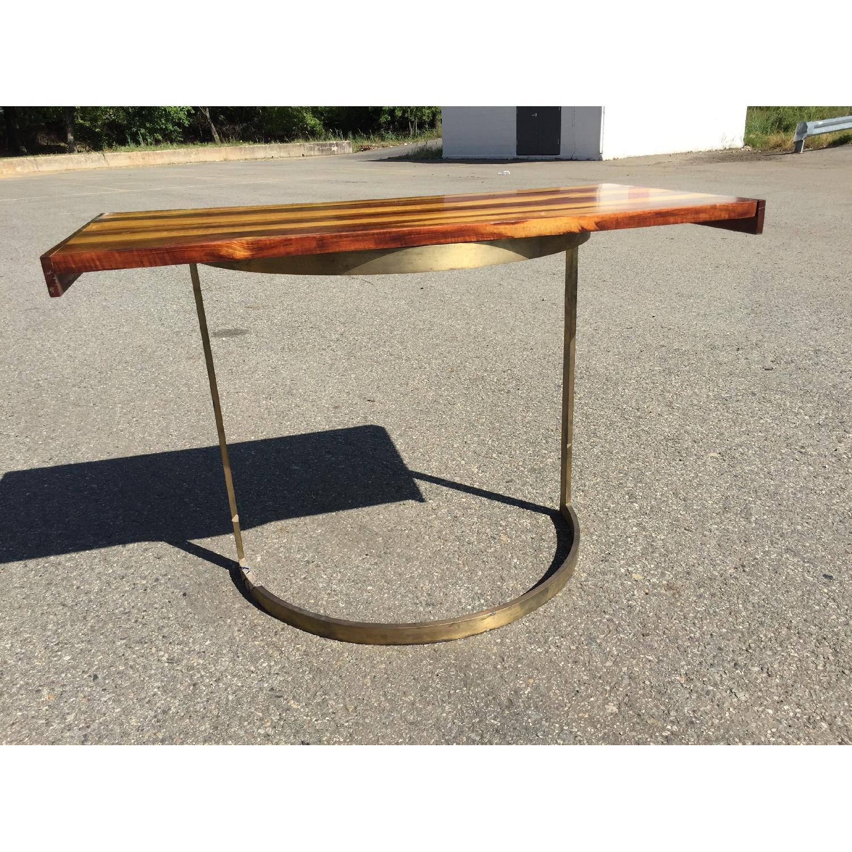 Solid Wood Desk w/ Curved Brass Base - image-3