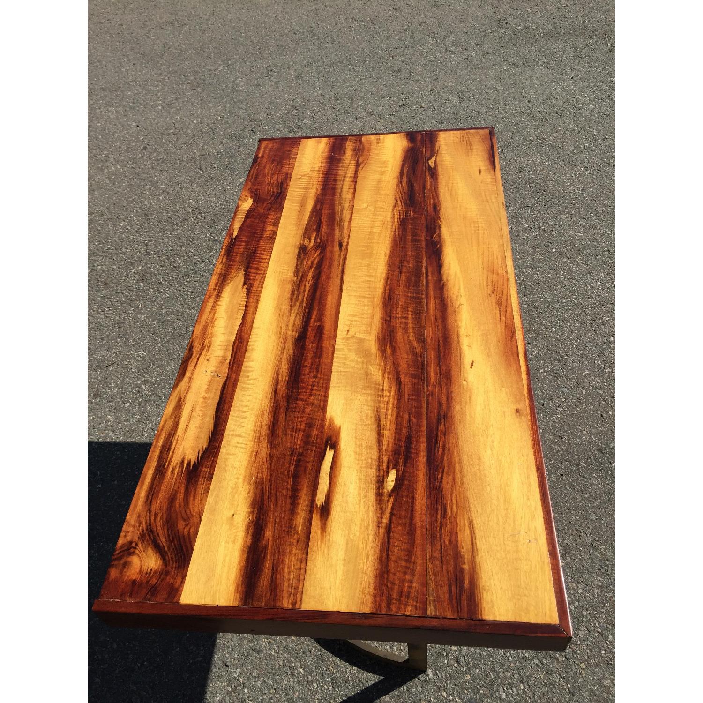 Solid Wood Desk w/ Curved Brass Base - image-4