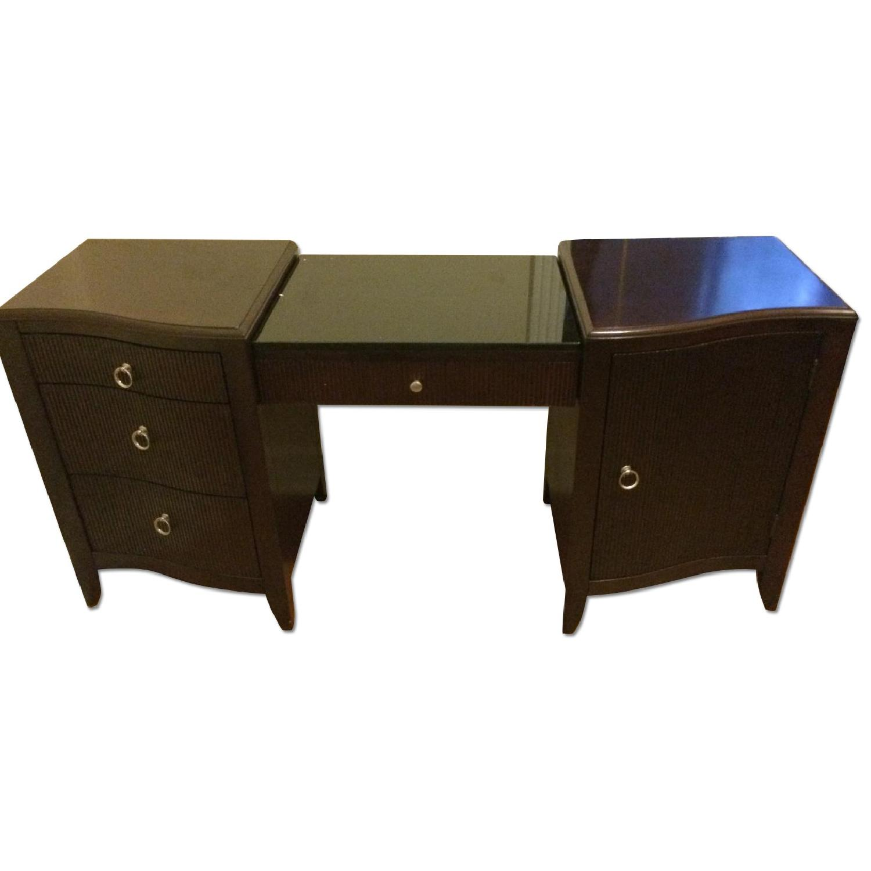 Dark Cherry Wood Desk - image-0