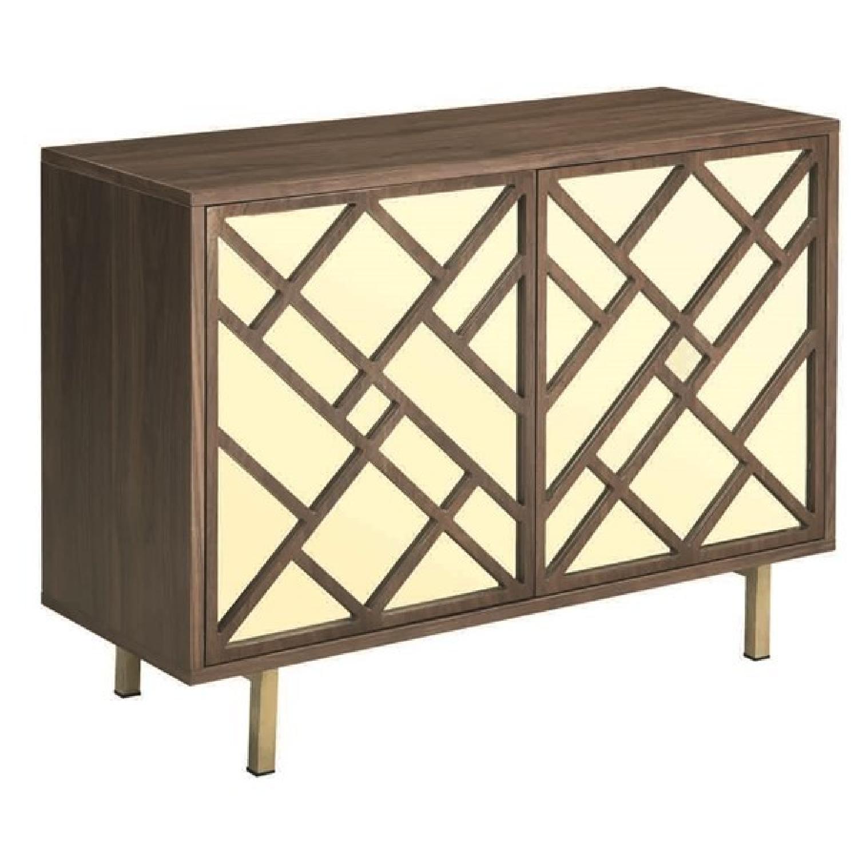 Art Deco Style Cabinet in Walnut Finish w/ Brass Legs