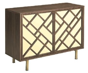 Art Deco Style Cabinet in Walnut Finish w/ Brass Legs