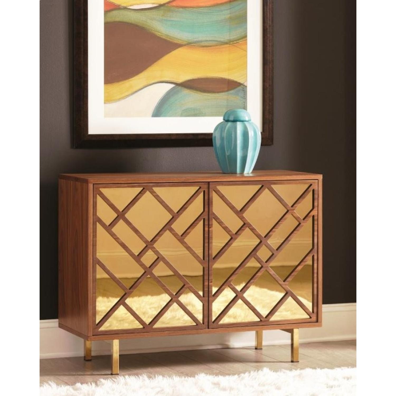 Art Deco Style Cabinet in Walnut Finish w/ Brass Legs-0