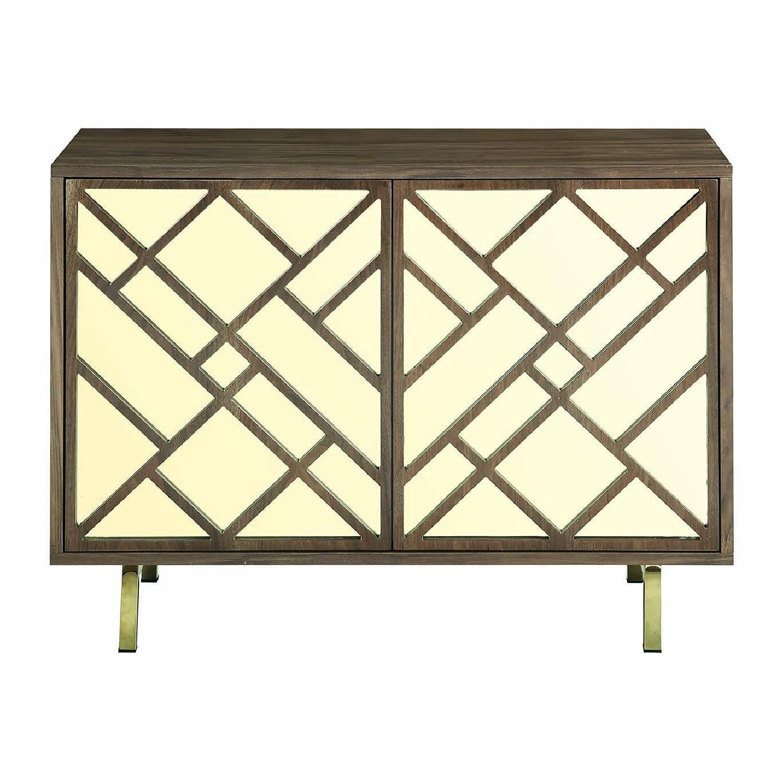 Art Deco Style Cabinet in Walnut Finish w/ Brass Legs-1