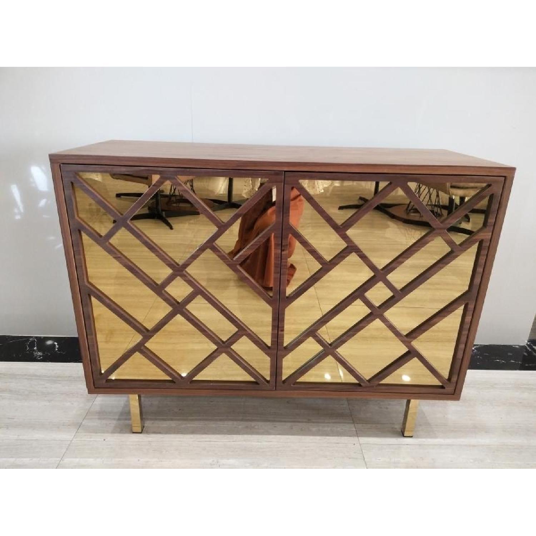 Art Deco Style Cabinet in Walnut Finish w/ Brass Legs-2