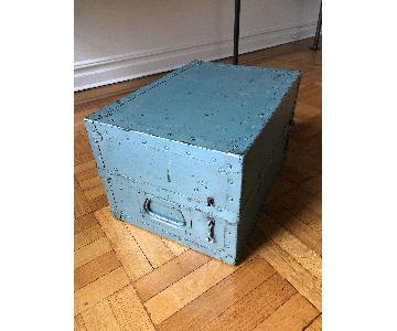 Vintage U.S. Airforce Teal Wood/Metal Trunk