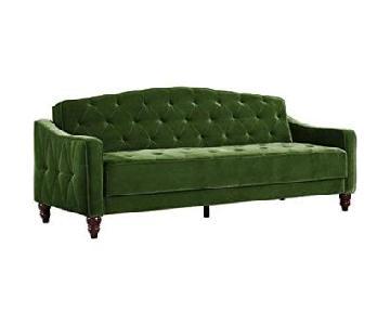 Novogratz Vintage Green Velour Tufted Sleeper Sofa