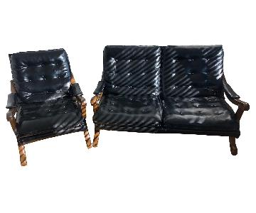 Vintage Leather Loveseat + Chair