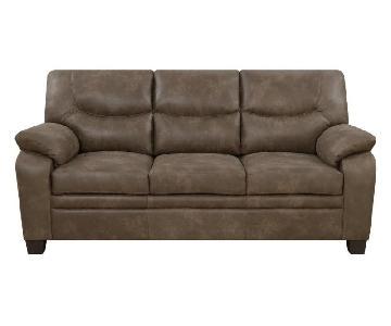 Brown Microfiber Retro Sofa