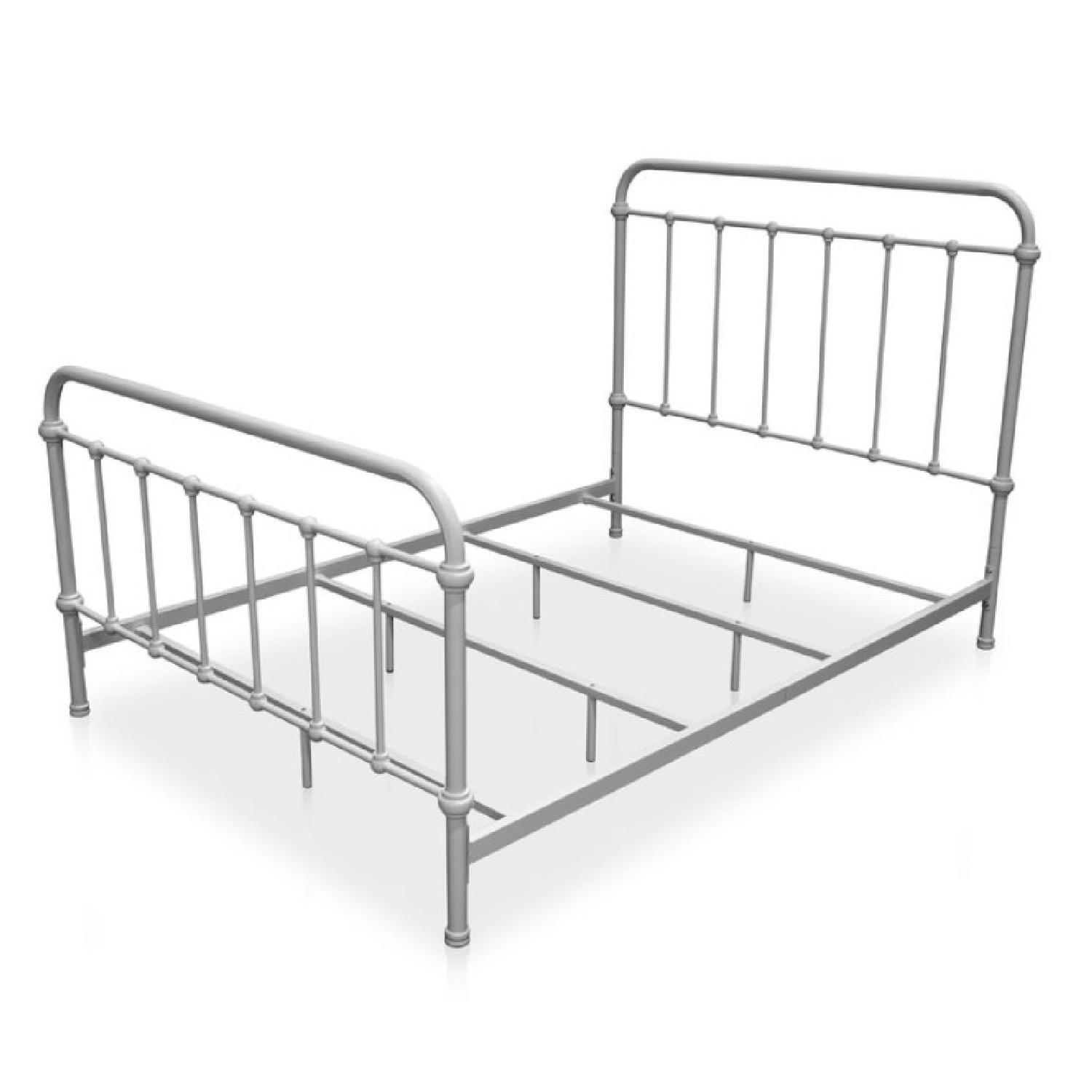 Shabby Chic Queen Metal Bed in Vintage White-1