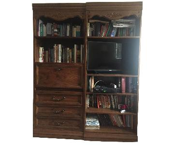 Hooker Country French Oak Bookcases w/ Adjustable Shelf