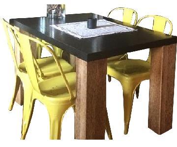 Custom Brazillian Palm Wood Dining Table w/ 6 Tolix Chairs