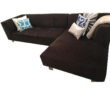 Room & Board Dark Brown Sectional Sofa w/ Chaise