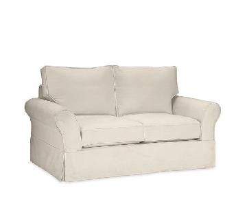 Pottery Barn Off-White Linen Loveseat