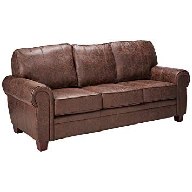 Brown Microfiber Retro Style Sofa
