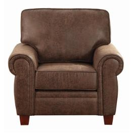 Coaster Brown Faux Leather Retro Style Accent Chair