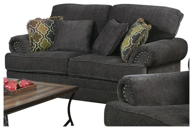 Coaster Grey Chenille Loveseat